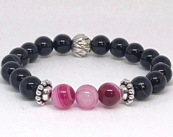 Pink agate beads and black agate bracelets