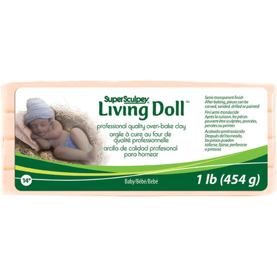 Super Sculpey Living Doll 1 lb. oven baked polymer clay,variety of flesh colors, strong durable doll and sculpting polymer clay