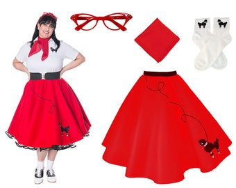 4 pc 50's Adult POODLE SKIRT Outfit-Plus Sizes