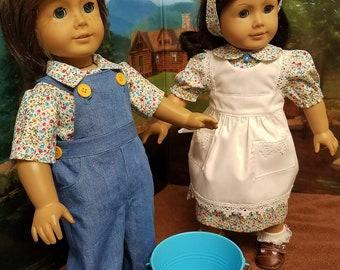 Jack et Jill Costumes avec seau, s'adapte à American Girl poupées Logan et Kit
