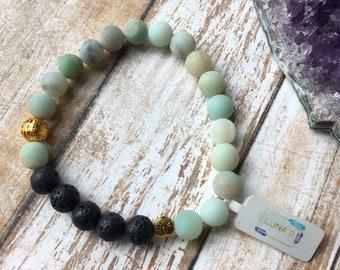 Matte Amazonite Essential Oil Diffuser Bracelet