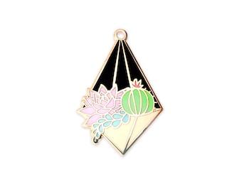 Night Terrarium Enamel Pin (hanging terrarium succulent pin hard enamel pin lapel pin badge enamel jewelry cute cactus jewelry backpack pin)