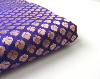 Cobalt blue gold flowers on kobalt blue India silk fabric nr 170 fat quarter