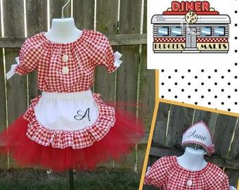 Car Hop Costume, Waitress Costume, Diner Costume, 50's Waitress