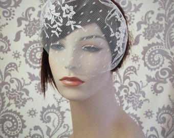 Lace Birdcage Veil w/ Polka Dots, Satin Headband Veil w/ Flowers and Vines, Vintage Style Veil, Vintage, Woodland, white, Ivory - 125BC