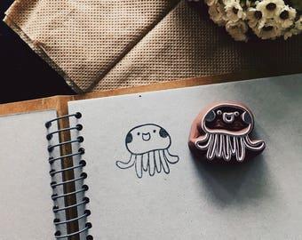 Jellyfish rubber stamp ,jellyfish pattern rubber stamp,jellyfish hand carved stamp , jellyfish stamp ,ocean stamp ,ocean