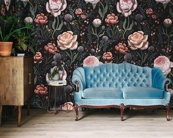 Rose le Soir Mural - Victorian Floral Pattern Wallpaper