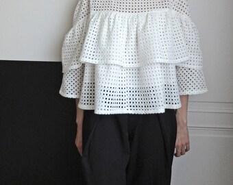 Boho eyelet lace babydoll blouse