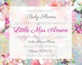 Vintage Chic Baby Shower Invitation Printable