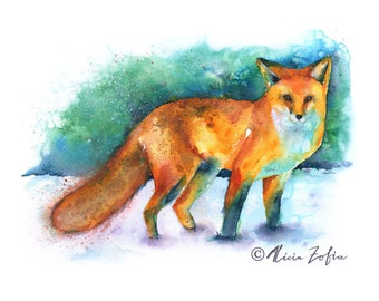 RED FOX PRINT | Fox Art | Fox Painting | Fox Watercolor | Baby Gift | Fox Print | Woodland Theme | Nursery Gift | Baby Shower | Fox Lover