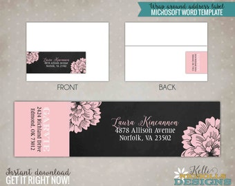 Chalkboard Baby Girl Wrap Around Return Address Labels - Instant Download #S120