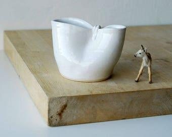 Folded stoneware pouring jug for milk - glazed in brilliant white