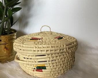 Vintage Coiled Basket/Basket With Lid/Boho Basket/Coiled Basket with Lid/Colorful Coiled Basket