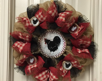 Red Chicken Deco Mesh and Burlap Wreath