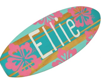 Surfboard Wall Hanging, Personalized Teen Girls Room Decor