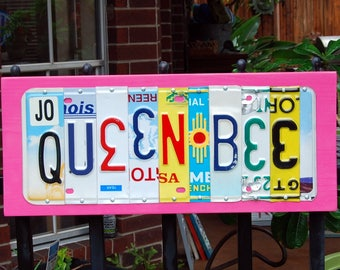 QUEEN BEE - license plate sign / Mothers Day gift / queen sign / royalty / wood sign / bee sign