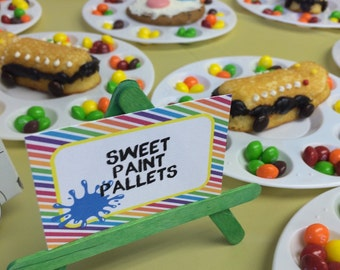 Rainbow Art Party Food Labels or Candy Buffet Labels Set of 12