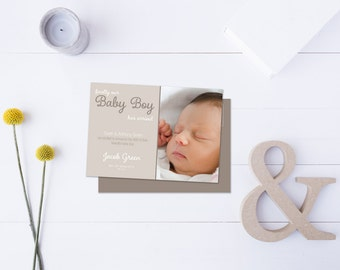 Baby Boy Arrival Post Card // Insert your own Baby Picture // Neutral Tones // DIY Printable File // Digital PDF File
