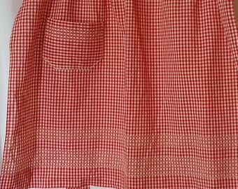 Vintage Red and White Gingham Apron with Chicken Scratch Embroidery