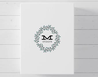 Wedding Guest Book Alternative, Monogram Canvas Guest Book for Wedding
