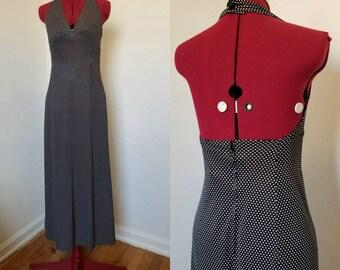 Vintage Black and White Polka Dot Maxi Dress// Halter Top Print Dress// Size Small Open Back Long Dress