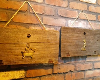 Antique Boat Hatch Wall Decor with Brass Accents