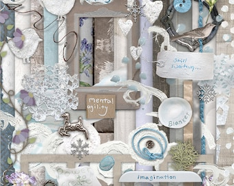 Imagination & Winter Digital Scrapbooking Kit