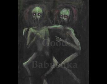Two Ghouls, Original Painting, Green, Monsters, Zombies, Dark Art, Spooky, Macabre, Halloween, Creatures, Scary, Horror