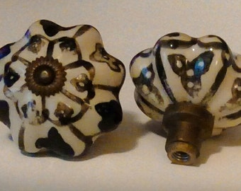 Antique Porcelain Hand Painted Door Knobs