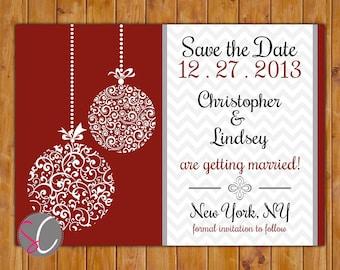 Save the Date Chevron Christmas Wedding Card Ornate Ornament Company Christmas Holiday Party Red White Black DIY Printable 5x7 JPEG (80)