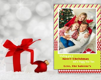 PRINTABLE CHRISTMAS CARD,  Stripes Christmas Photo Card,  Happy Holidays Card,  Christmas Card with photo,  Merry Christmas Card