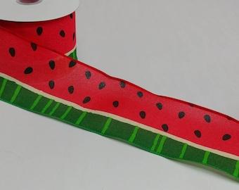 "FREE SHIPPING- 2.5"" Linen Watermelon Ribbon - Summer Ribbon - 5 Yards"