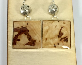 Maple, Burl, Earrings, sterling silver wires, Repurposed, Silver Tone Bezels, Handmade Jewelry, Gift For Her, Teacher Gift, Wood Jewelry
