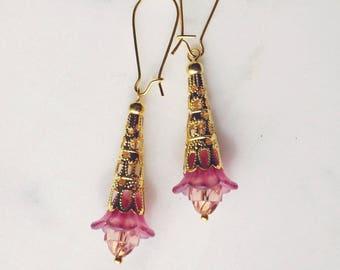 50% off SALE! Earrings, dusty pink lucite flower dangle earrings 1