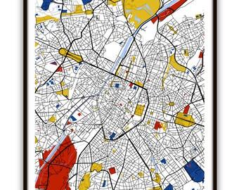 brussels map art brussels belgium wall art print poster modern home