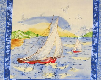 Patchwork Panel sticker n 2 SAILBOAT fabric coupon