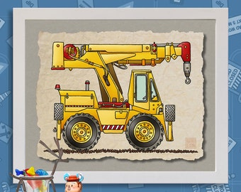 Kid Construction Art Truck Crane Whimsical yellow digger print adds to kids room construction zone as 8x10 or 13x19 wall decor