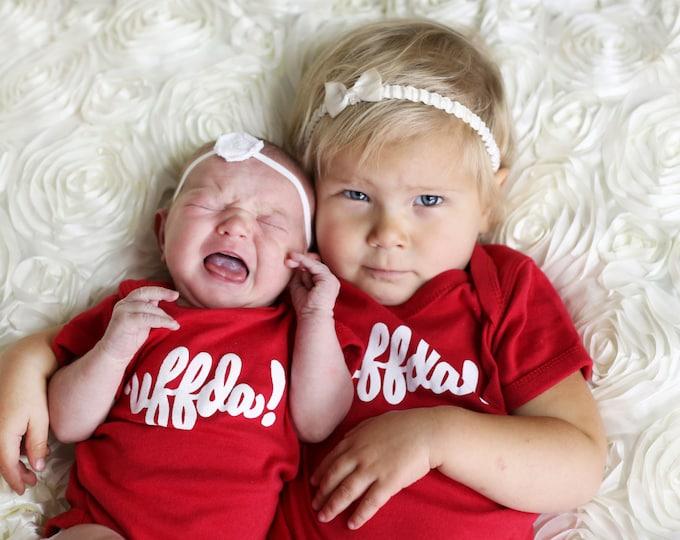 """Nordic """"Uffda!"""" Onesie in red, Norweigan newborn baby and toddler apparel NB 6M 12M 18M, Scandinavian kids childrenswear bodysuit"""