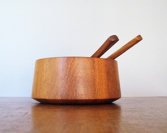 Large Vintage Dansk Staved Teak Salad Bowl With Servers / Tongs