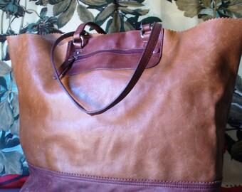 Banana Republic Distressed Leather X Large Tote Bag