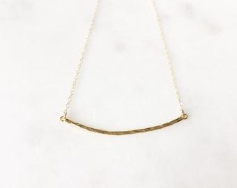 SAM | Gold Skinny Curved Bar Necklace | Gold Vermeil Bar Necklace | Minimalist Necklace |  Hammered Curved Bar Necklace | Simple Bar Necklac