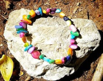 Colorful gemstone beaded bracelet; chunky stone Boho jewelry