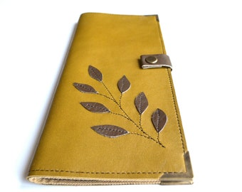Mustard Tract Holder Leather JW Meeting Invitation Holder Handmade LeafLeather Jehovah's Witnesses Ministry organizer Pioneer Jw gift