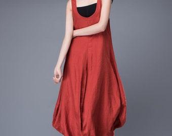 Long linen dress, linen dress, plus size linen dress, asymmetric dress, sleeveless dress, red dress, womens dresses, casual dress C888