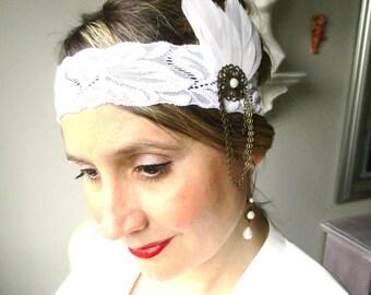 Retro marriage year crazy mind lace Gatsby headband/headband white elastic-feathers