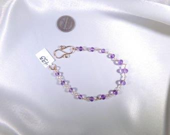 Lilac amethyst gold filled link bracelet gemstone handmade microfaceted  item 933