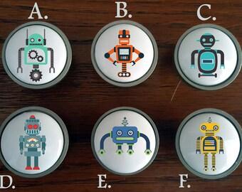 Robot dresser knobs / Robot themed nursery / Robot cabinet knobs / Sci-Fi dresser knobs / Space theme nursery / Cabinet knobs /