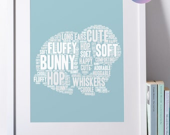 Printable Personalised Bunny Print   Personalized Word Art   Bespoke Gift   Digital File   Print Yourself   Lop-Eared Rabbit Art