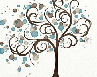 Blue Brown Circle Whimsical Tree Wall Art 11 x 14, Wind Blowing Tree Art Print, Living Room Decor for Walls (21)