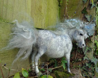 Grey Dappled Pony , Pony Fiber sculpture, Needle felted pony. Magical Merrylegs Dapple Grey Pony